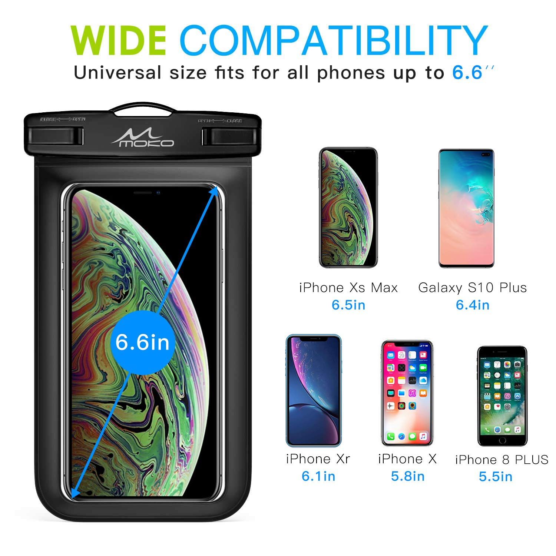 Bolsa de Tel/éfono Seca con Correa para el Cuello para iPhone X//8 Plus//8 Negro 2 PZS Rosa Galaxy S9 plus//S9//S10 S10 Plus S10e BLU Moto /& M/ás MoKo Universal Impermeable Funda para M/ávil,