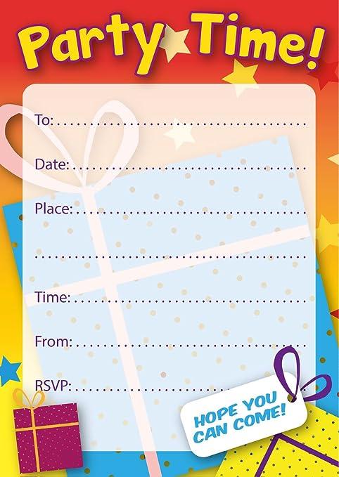 Invitaciones para fiesta de cumpleaños, multicolor, regalos ...