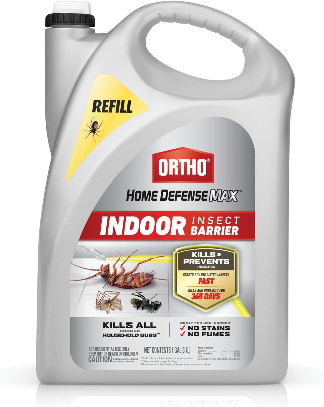 Ortho Home Defense Max Indoor Insect Barrier: Refill, Starts Killing Ants, Roaches, Spiders, Fleas and Ticks Fast, Use for Indoor Pest Control, Long-Lasting Control, 1 gal.