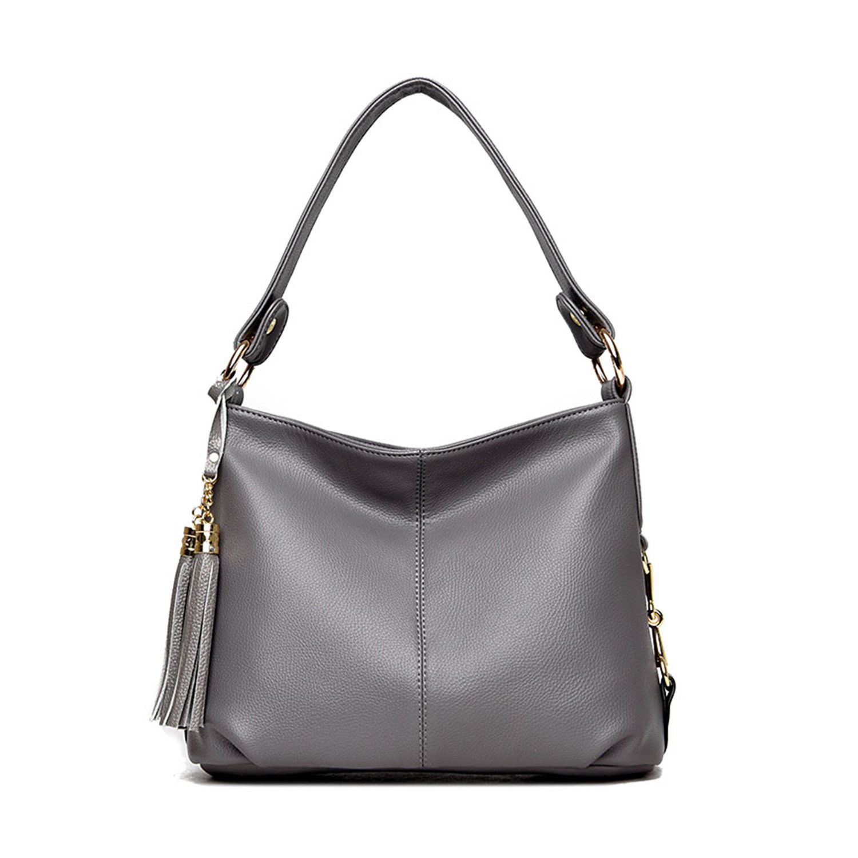NOTAG PU Leather Hobo Handbag Top Handle Shoulder Bag Tote Bags with Tassel Crossbody Bag Designer Fashion Durable Hobo Style Purse Satchel for Women (Grey)