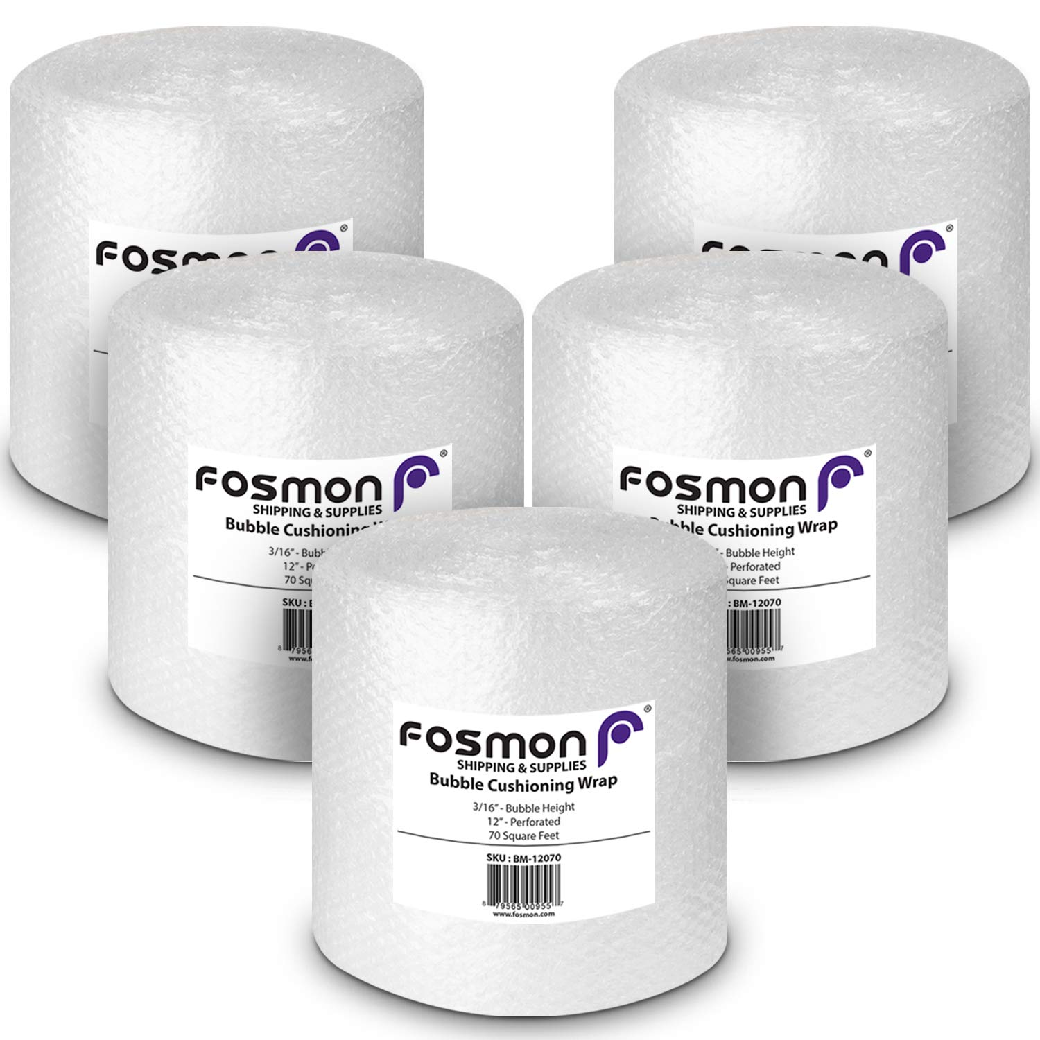 Fosmon Bubble Cushioning Wrap Roll 12'' x 70' (5 Pack, Total of 350 Feet), Perforated Every 12'' for Packaging, Shipping, Mailing and More