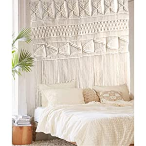 "Flber outlet Macrame Wall Hanging Macrame Curtains Boho Door Curtain Panels Handmade Wall Art Home Wall Décor,52""x 57"""