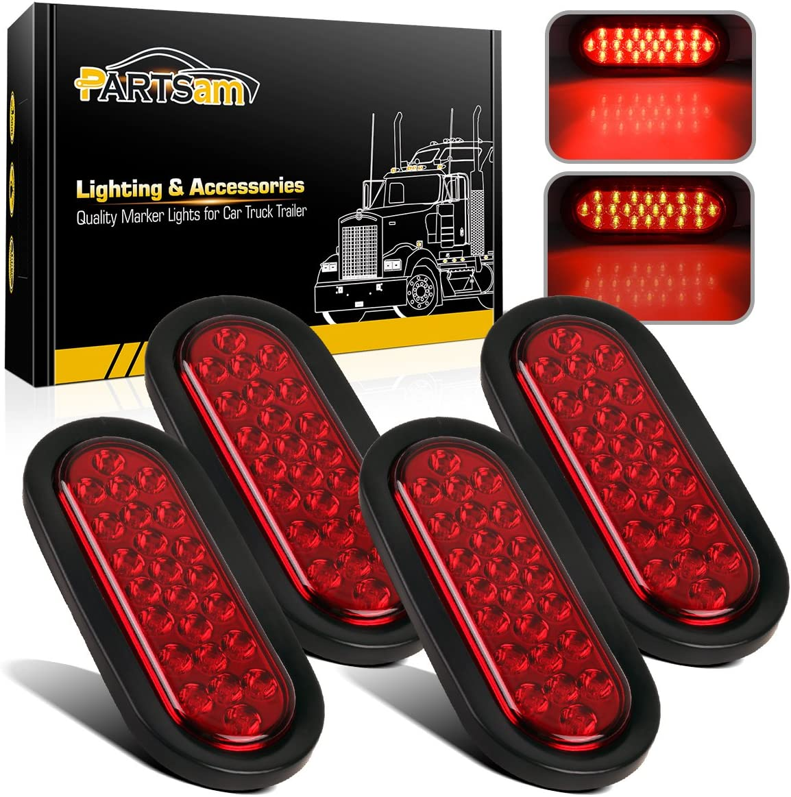 [DIAGRAM_34OR]  Amazon.com: Partsam 4Pcs 6 Inch Oval Led Trailer Tail Lights Red 24 LED  Grommet Mount, 12V 6 inch Oval Red Stop Tail Turn Brake Truck Tractor  Trailer Boat Sealed Marker Clearance Lights   Oval Trailer Light Wiring Diagram For 6      Amazon.com