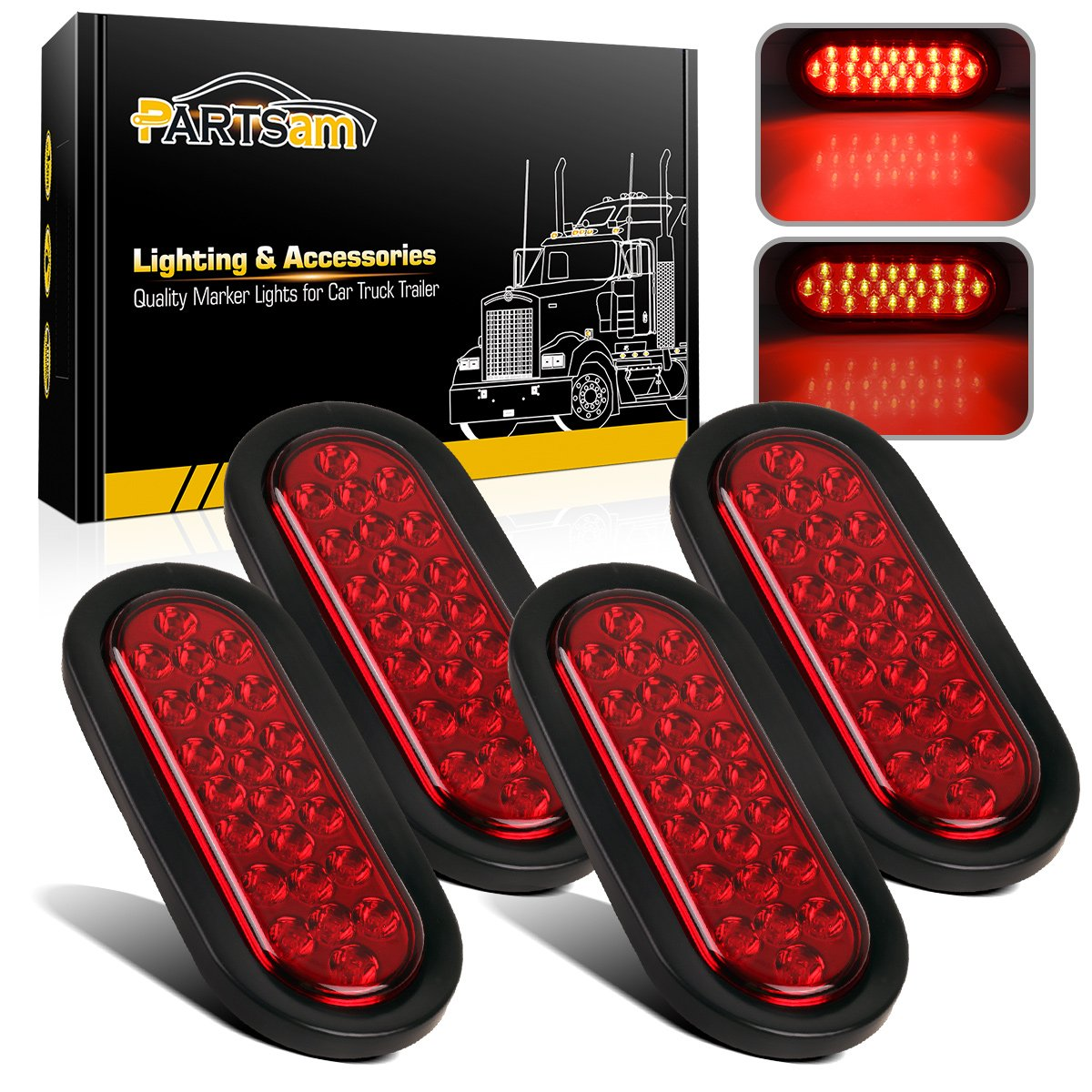 Amazon.com: Partsam 4 x 12V 6 inch Oval Red 24 LED Doides Stop Tail Turn  Truck Tractor Trailer Boat Brake Sealed Marker Lights Waterproof w/Grommet  Mount: ...