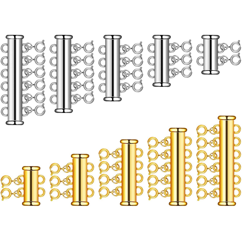 WILLBOND 10 Set 5 Formati Distanziatore per Collana a Strati Tubo Scorrevole Multi-Fili Connettori Collana Tubo di Chiusura per Collana Gioielli Artigianato