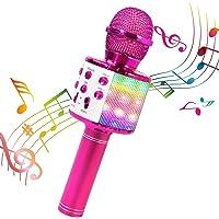 Micrófono Karaoke Bluetooth, Teaisiy Microfono Inalámbrico Portátil con Altavoz y Luces LED para Niños para Hogar KTV…