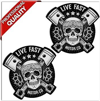 SkinoEu® 2 x PVC Laminado Adhesivos Pegatinas Cráneo Calavera Live Fast Skull para Autos Coches Motos Ciclomotores Bicicletas Ordenador Portátil Regalo B 41: Amazon.es: Coche y moto