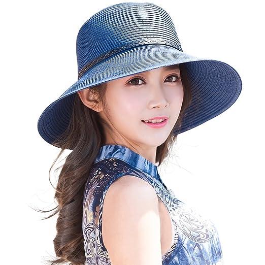 eef96d60c Packable UPF Straw Sunhat Women Summer Beach Travel Hat Ventilated w/Chin  Strap