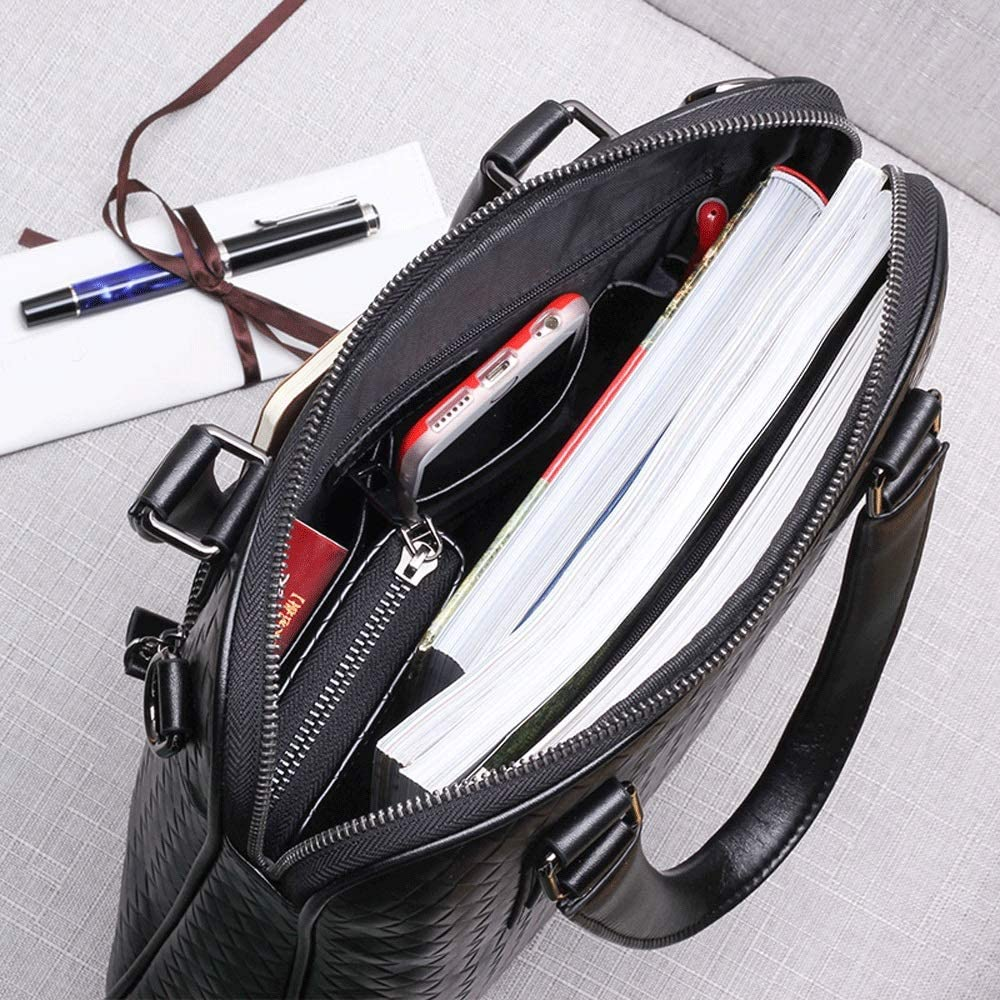 XING YI CHUAN MEI Mens Bag Shoulder Bag Mens Handbag Business Briefcase Cowhide Bag Vertical Woven Pattern Casual Messenger Bag