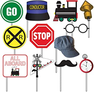 Havercamp Railroad Photo Booth Props | Party Decorations, Birthday, School Party Photography - 12 Count