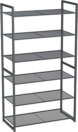 6 niveaux Étagère à chaussures debout noire meuble pour