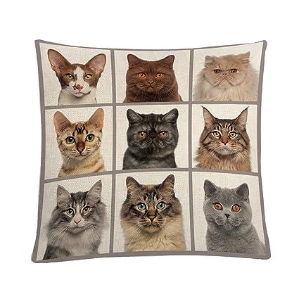 MAYUAN520 Cojines Algodón Funda de cojín 45*45cm animales gatos impreso Pillowcovers almohadones decorativos casos