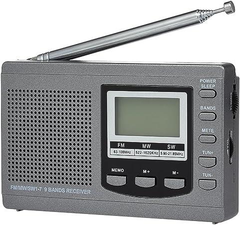 doco Oler FM/Am/SW Radio Multi Banda Receptor de Radio Digital estéreo Auriculares Salida Tiempo Pantalla Despertador Externo giratoria Antena: Amazon.es: Electrónica