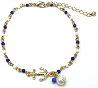 Jucicle Anchor Charm and Freshwater Pearl Bead Link Anklet