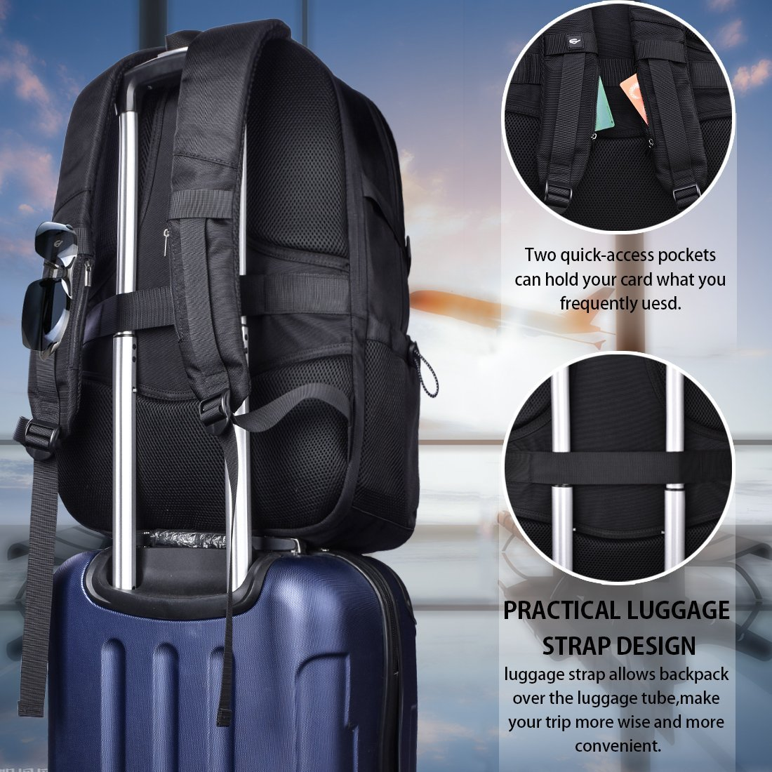 Laptop Backpack 17.3 Inch Travel Anti-theft Waterproof School Backpack Business College Large Capacity Gaming Laptop Backpacks USB Charging Port for Men Women Black by NEWHEY (Image #4)