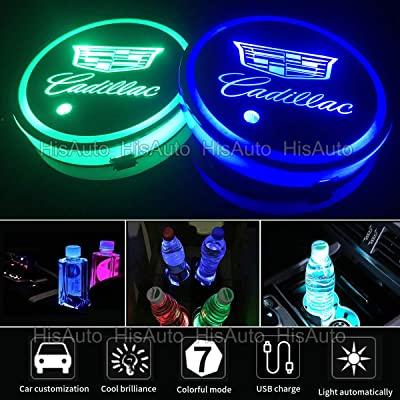 ANAISI 2pcs LED Car Cup Holder Lights for Cadi.llac, 7 Colors Changing USB Charging Mat Luminescent Cup Pad, LED Interior Atmosphere Lamp (Cadi llac): Automotive
