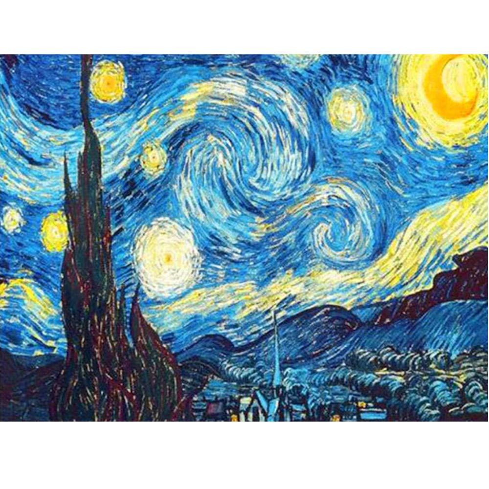 WPHRL Diamond Painting Kits 5D Van Gogh Starry Sky Round Drill Full Drill 5D DIY Diamond Painting Cross Stitch For Home…