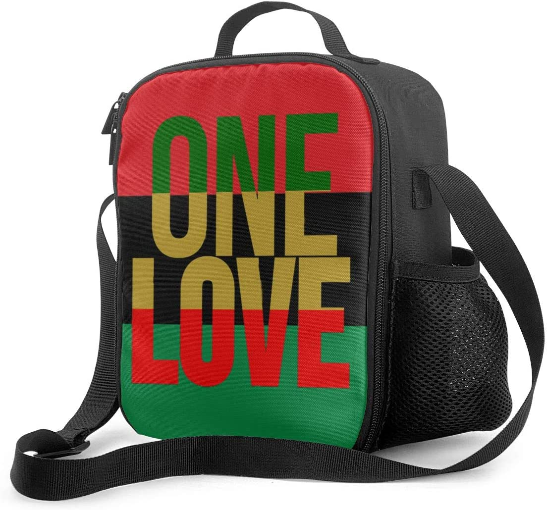 Vbmghdds One Love Rasta Colors Portable Insulated Lunch Bag Supernatural Oxford Cloth Lunch Bag Food Container Cooler Warm Pouch Pouch Adjustable Strap for School Work Office Travel Fishing.