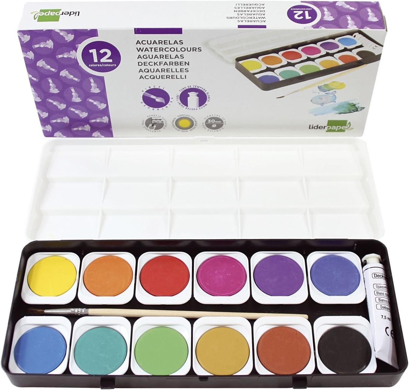 Liderpapel Acuarela 12 Colores Con Pincel Y Tubo De Tempera Blanca Estuche De Plástico: Amazon.es: Oficina y papelería