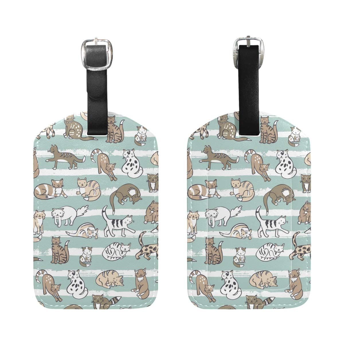 Travel Luggage Tag Cats Animals PU Leather Baggage Suitcase Travel ID Bag Tag 1Pcs