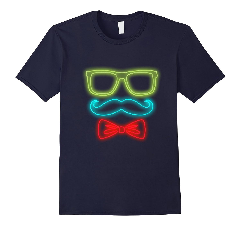 80's Neon Sunglasses, Mustache and Bowtie Funny T-shirt-FL