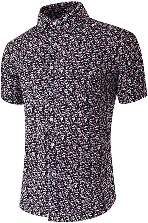 Ting room 2019 Cotton Bamboo Fiber Men Shirt Summer Casual Shirt Floral Print Stretch Dress Shirt,Dark Print,EU Size XXL
