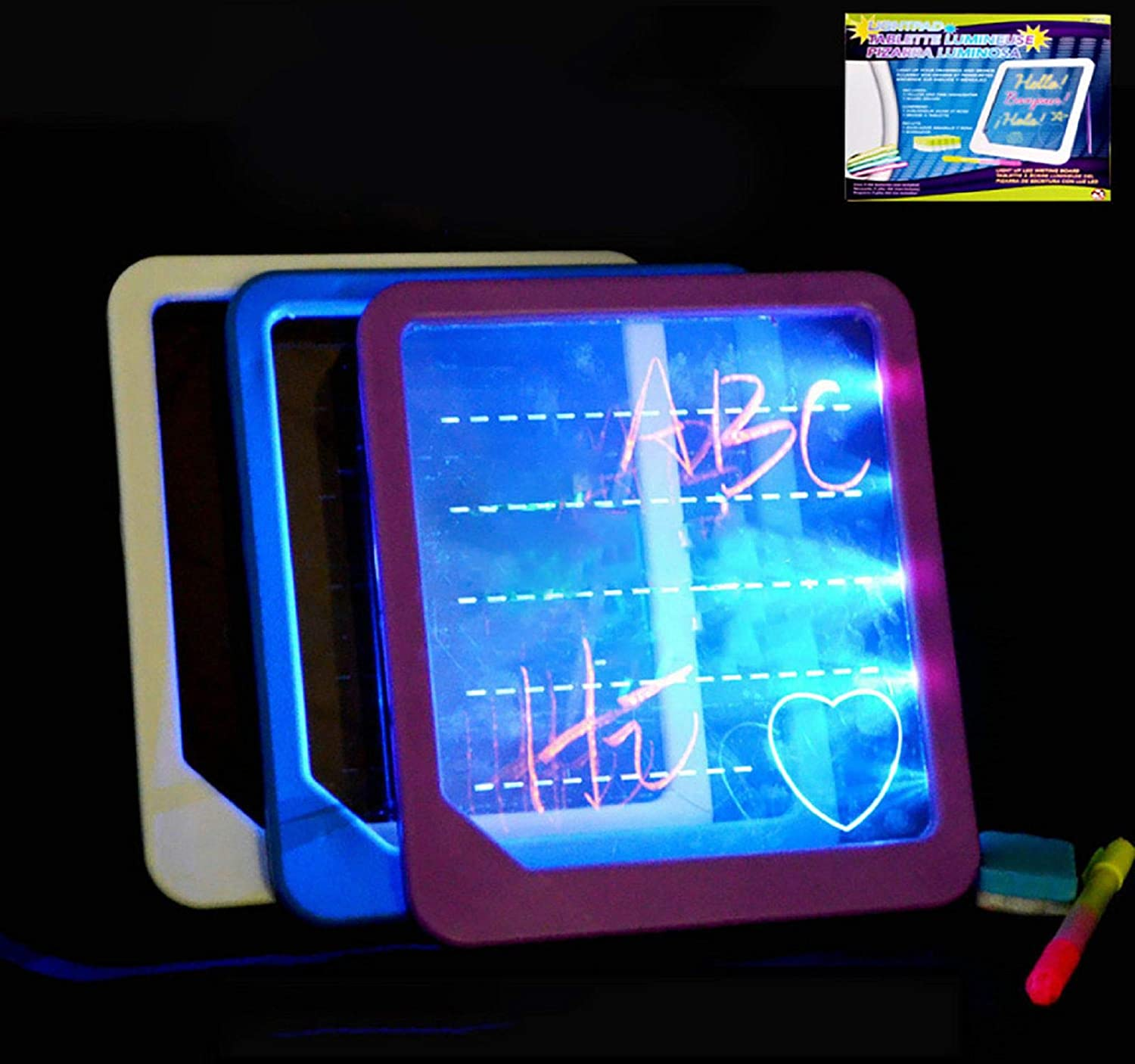 Cinhent Ultra-Thin Portable Neon LED Light Glow Drawing Board Translucent See Through Surface LED Artcraft Tracing Light Box Light Pad for Kids Artists Drawing Sketching Animation Discovery