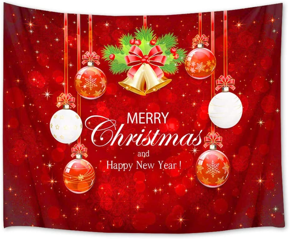 HVEST Christmas Tapestry Wall Hanging Xmas Balls Wall Blankets New Year Tapestry Wall Hanging for Bedroom Living Room Dorm Decor,80Wx60H inches