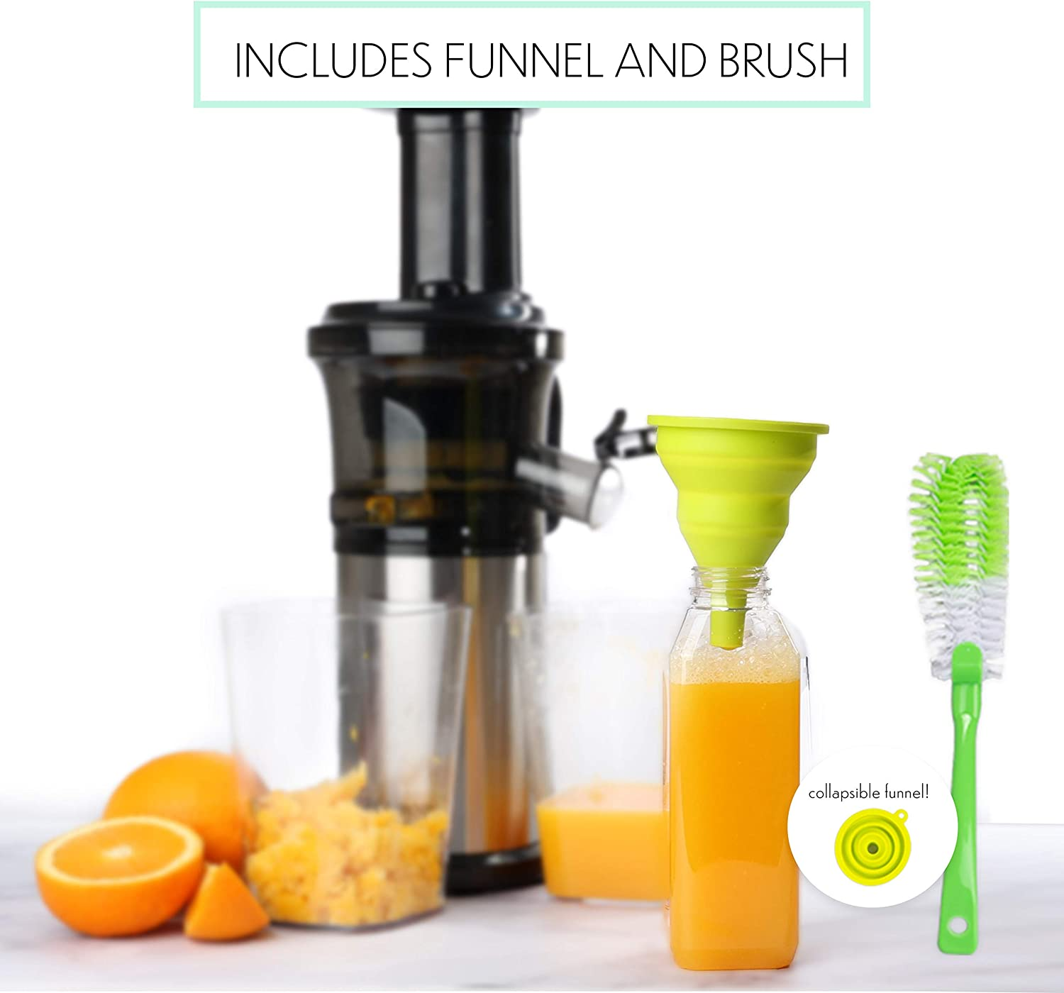 Cold Press Masticating Juicer With 16 oz Plastic Juice Bottles With Black Caps And Juicing Recipe Book Includes Funnel And Brush