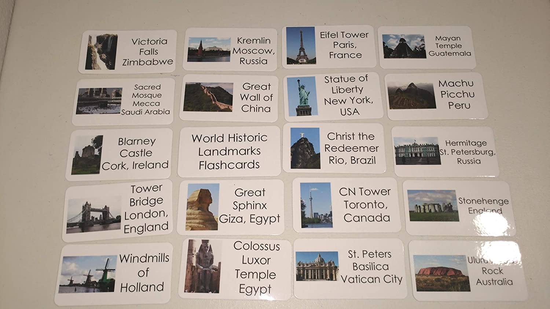 50 World Historic Landmarks Laminated Flashcards