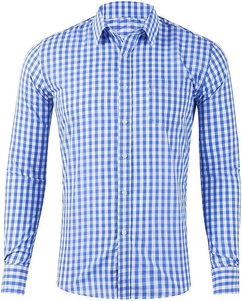 Liquidación Camisa a Cuadros Hombre Camisas Corte Slim de Manga Larga y Ajuste Regular Camisas de Vestir Ropa Casual Tops Original Blusa Informales Yvelands(Azul Claro,S): Amazon.es: Ropa y accesorios