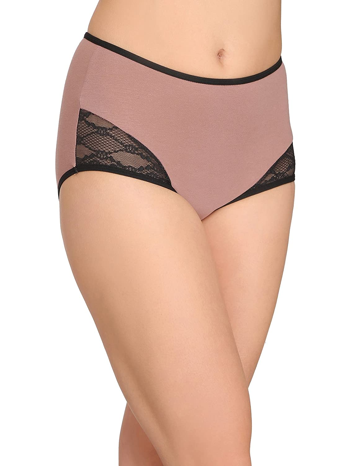 225c4277e29 Clovia Women s Cotton High Waist Hipster Panty with Lace Sides  Amazon.in   Clothing   Accessories