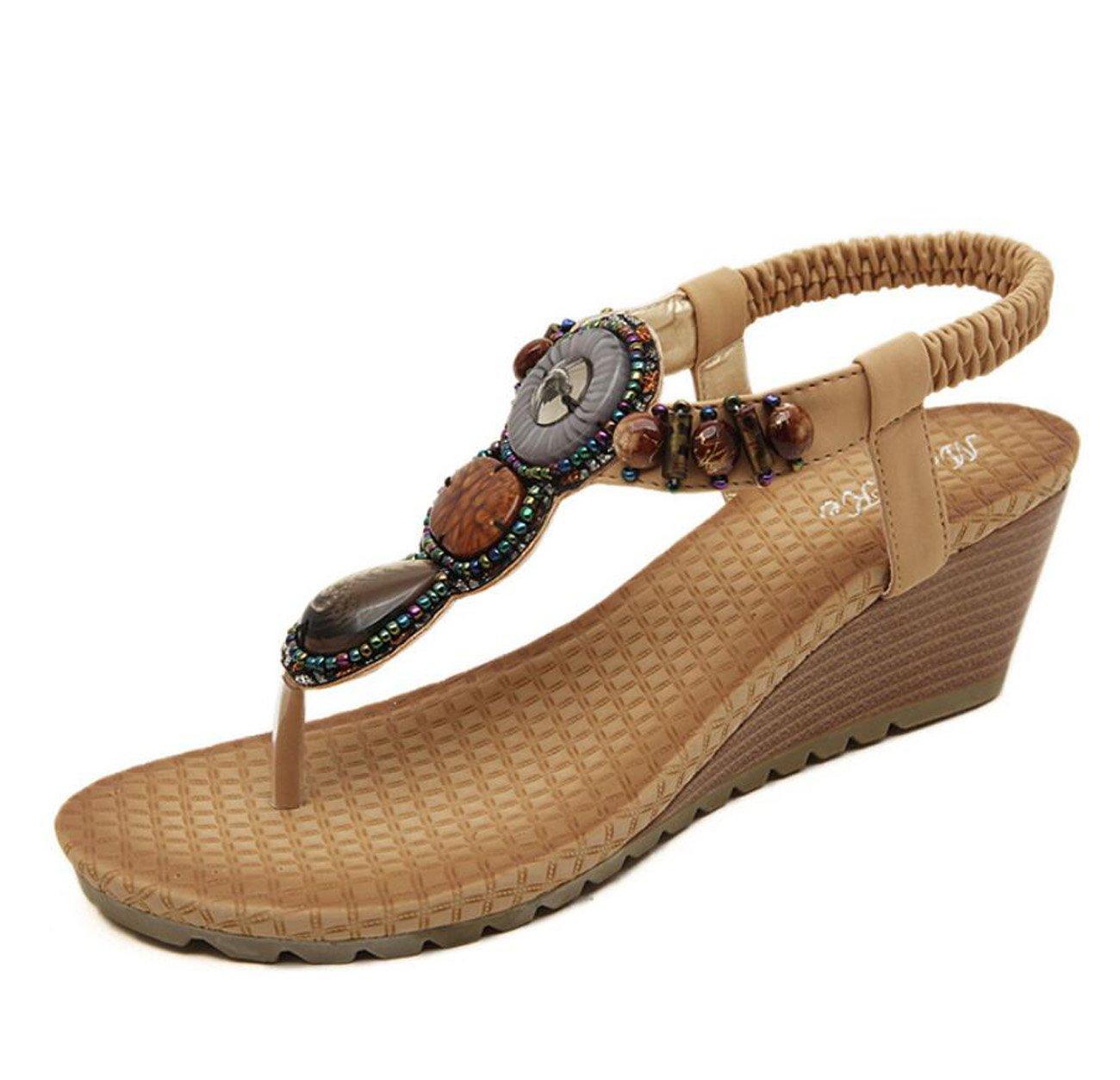 Damen Damen Sommer Sandalen  Flip Flops Strass Plattform Keile Heels Schuhe Flip Flops fuuml;r Mauml;dchen ( Color : Apricot , Grouml;szlig;e : 35 )  35|Apricot