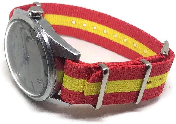 Correa de reloj con diseño de la bandera de España, hecha con nailon balístico de la OTAN, 22 mm: Amazon.es: Relojes