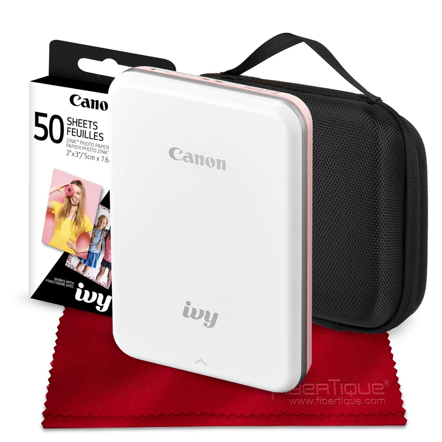 Canon Ivy Mini Mobile Photo Printer (Rose Gold) with Canon 2 x 3 Zink Photo Paper (50 Sheets) and Hard Shell Case Deluxe Bundle by Canon
