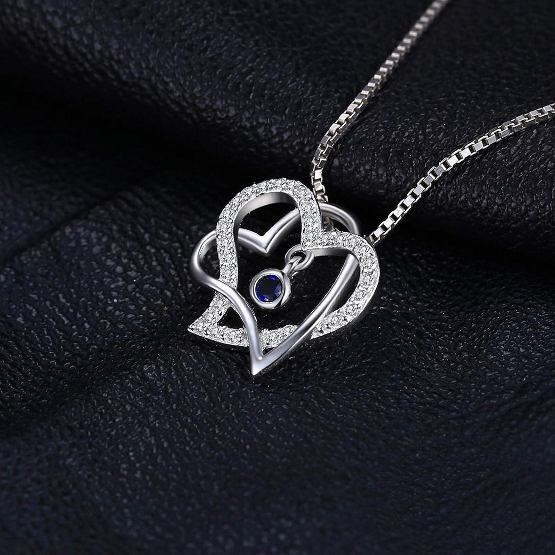 MMC Silver Necklaces Romantic 0.18 ct Double Sapphire Heart Womens Pendants