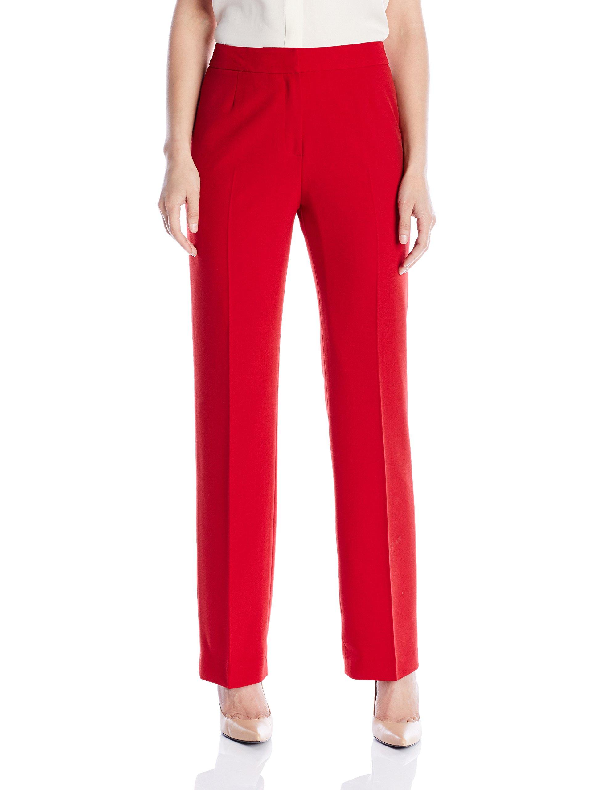 Kasper Women's Stretch Crepe Pant, Fire Red, 4 by Kasper
