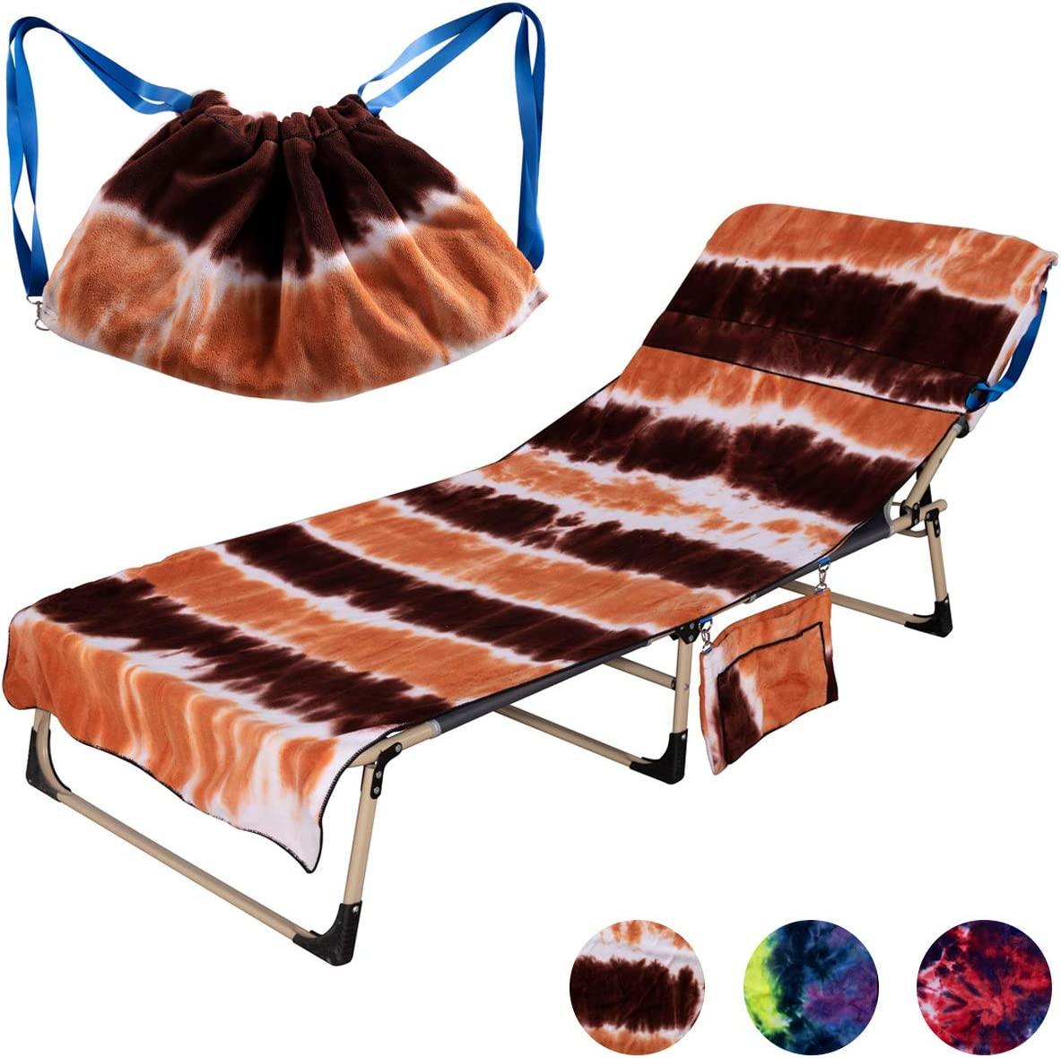 telo da spiaggia in spugna telo copri-sedia da spiaggia vacanze Arancione prendere il sole Mingfuxin con tasche laterali per sdraio in microfibra