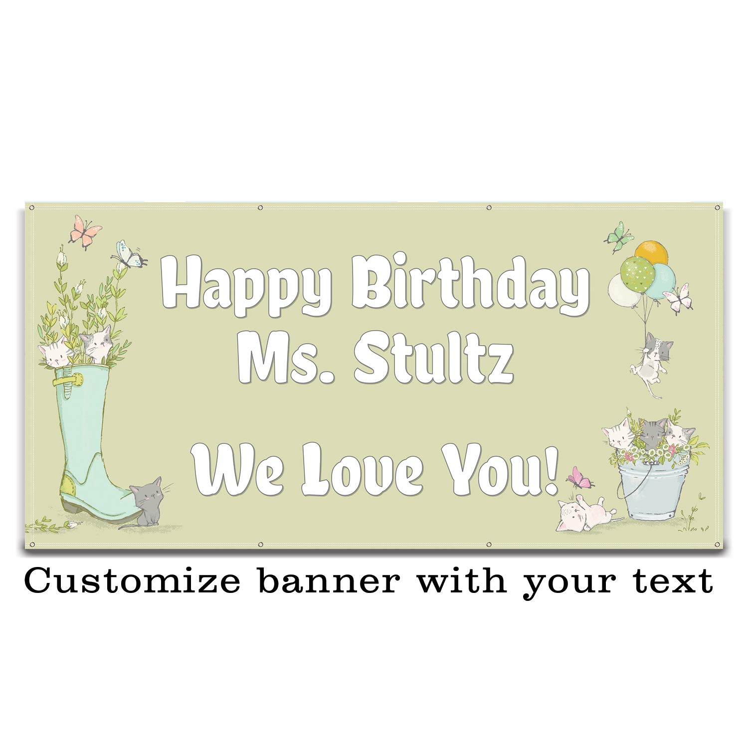 Buttonsmith Baby Animals Party Vinyl Banner 6'x3' - Indoor/Outdoor - Hemmed and Grommeted - Designed, Printed, and Assembled in USA