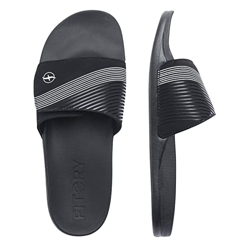 18dced20f1c1 FITORY Mens Slides Sandals Ajustable Cloudfoam Slippers for Beach Size 7-13  Black