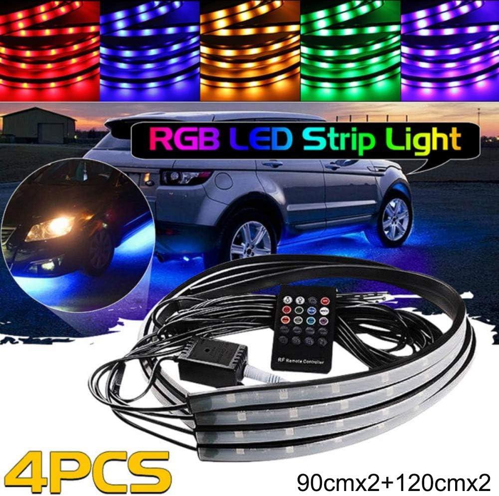 Lychee FLEXIBLE multicolore RGB LED Flash NEON PouR AUTO SOUS CHASSIS Strip Glow Eclairage IR Telecommande 90x120 CM IP68 etanche avec fonction de contr/ôle acoustique et contr/ôle de t/él/écommande sans fil