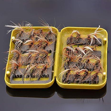 NEWSHOT Moscas secas de Pesca con Mosca Peacock tamaño 10 Juego de 32 Moscas con Caja de Mosca para Pesca de Trucha: Amazon.es: Deportes y aire libre