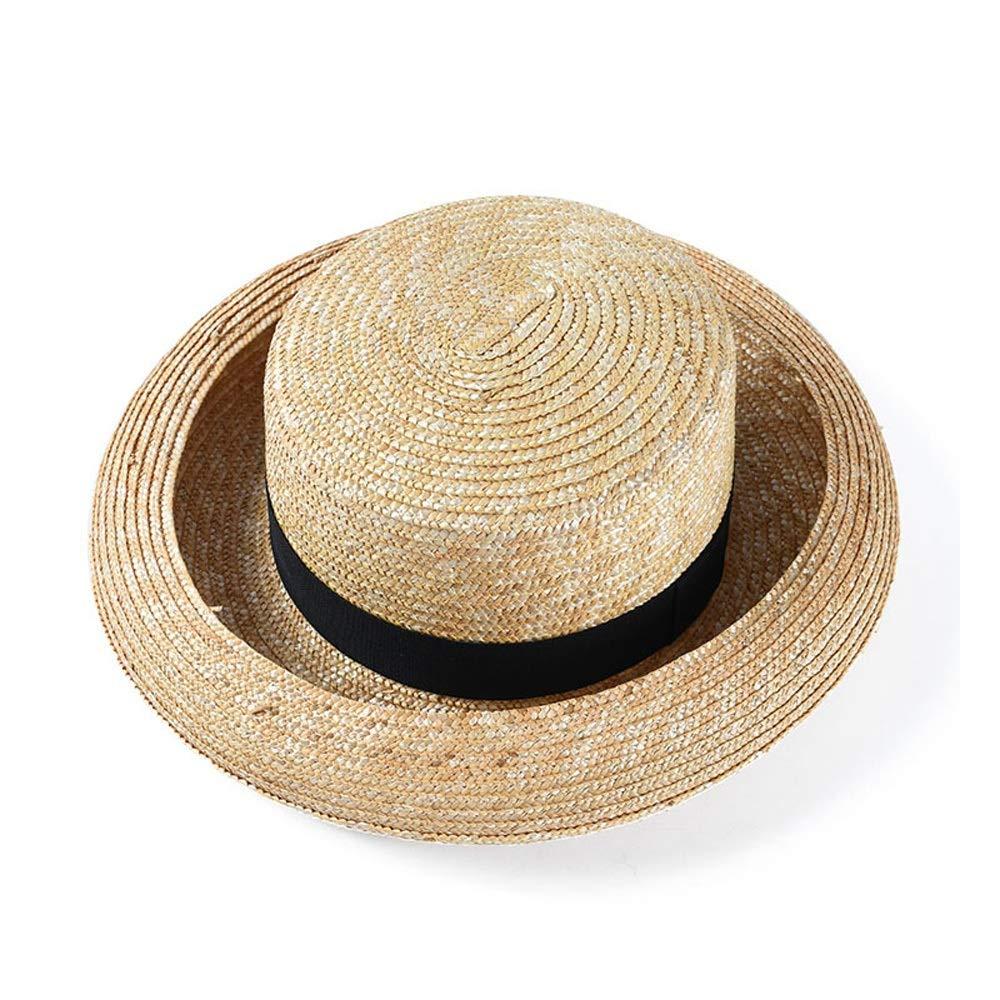 For women's hats 2019 Sun Hat Curling Husk Straw Hat Spring Summer Hat Originative Ladies Shape Travel Vacation Sun Hat Visor (Color : Khaki, Size : 56-58CM)