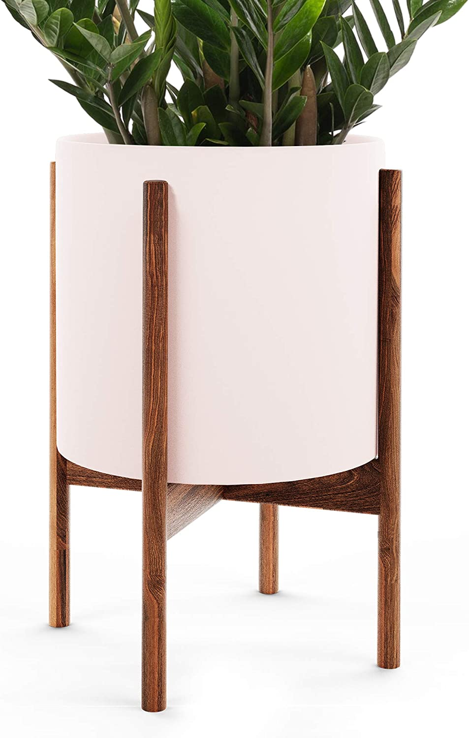 Amazon Com Omysa Mid Century Plant Stand With Pot Included 10 Blush Ceramic Planter With Stand Large Indoor Planter Pot For Plants Trees Flowers 6 Colors White Black Peach