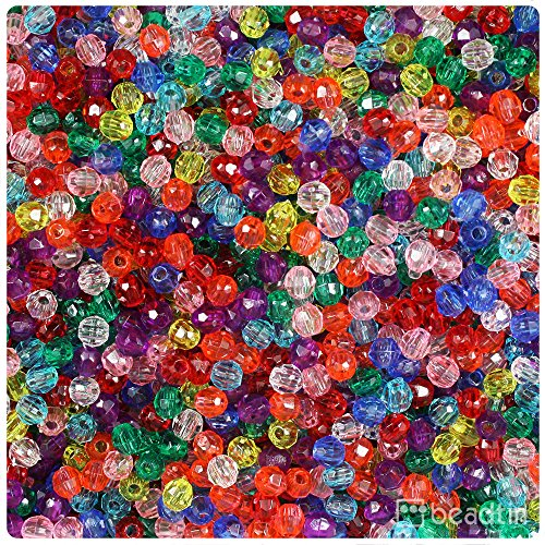 BEADTIN Mixed Transparent 4mm Faceted Round Craft Beads (1250pc) ()