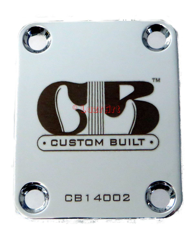 """Custom Built"" Engraved Guitar Neck Plate - Fender Style - Silver LazrArt 4334248907"