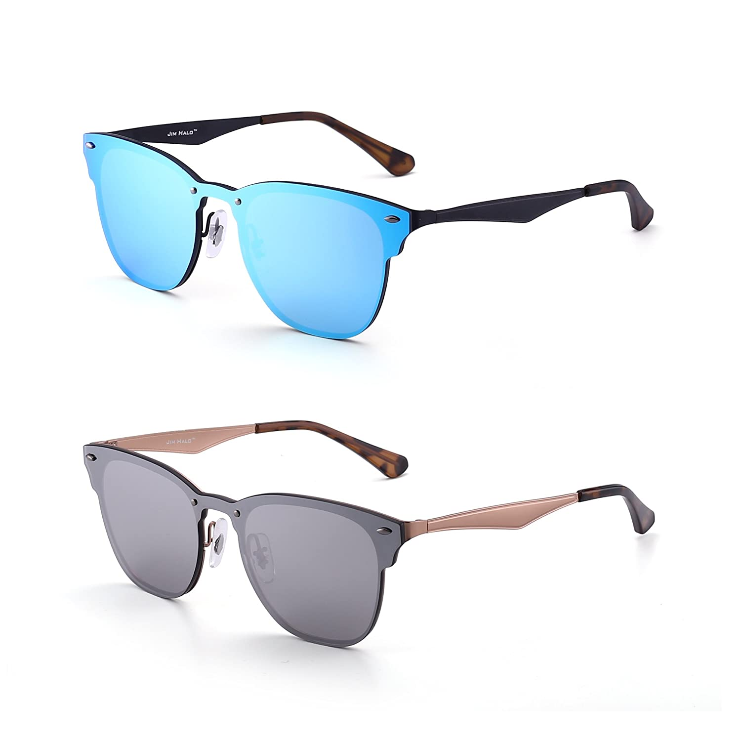 e35841e65c Amazon.com  JIM HALO Rimless Mirrored Sunglasses Women Men One Piece Horned  Rimmed Glasses 2 Pack (Blue   Silver)  Clothing