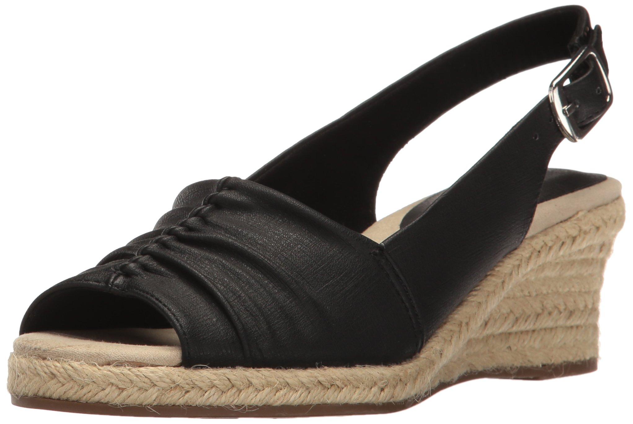 Easy Street Women's Kindly Espadrille Wedge Sandal, Black Textured, 7 W US