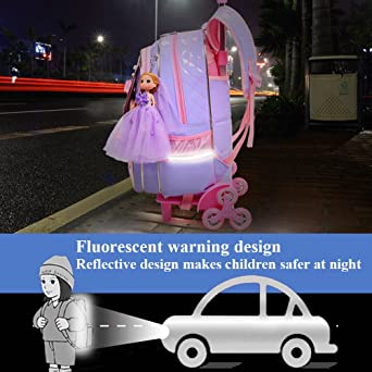 Amazon.com   Zhuhaitf Three-piece Cute Princess with Wheels Rolling Backpack for Girls for School   Kids Backpacks