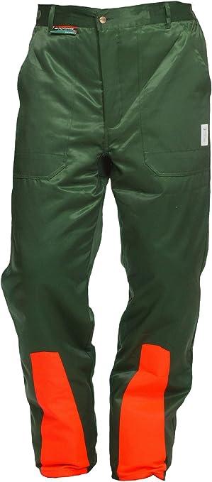 Pantalones anticorte Clase 1 Woodsafe®, probado por Kwf, peto verde/naranja, para hombre, pantalón con protección anticorte para trabajos forestales, forma A, peso ligero, cubrepantalón verde 62